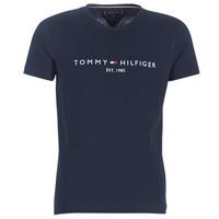 tekstylia Męskie T-shirty z krótkim rękawem Tommy Hilfiger TOMMY FLAG HILFIGER TEE Marine