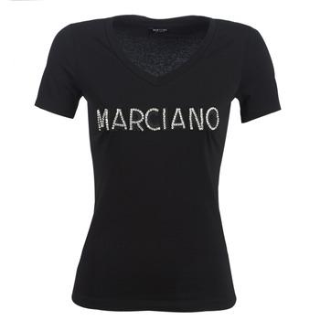 tekstylia Damskie T-shirty z krótkim rękawem Marciano LOGO PATCH CRYSTAL Czarny