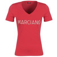 tekstylia Damskie T-shirty z krótkim rękawem Marciano LOGO PATCH CRYSTAL Czerwony