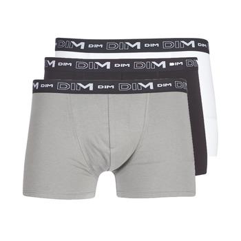 Bielizna  Męskie Bokserki DIM COTON STRETCH X3 Czarny / Szary / Biały