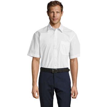 tekstylia Męskie Koszule z krótkim rękawem Sols BRISTOL MODERN WORK Blanco