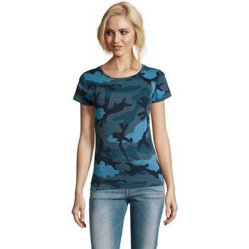 tekstylia Damskie T-shirty z krótkim rękawem Sols CAMOUFLAGE DESIGN WOMEN Azul