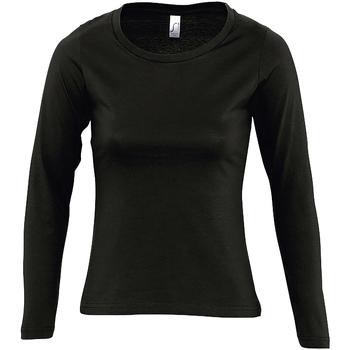 tekstylia Damskie T-shirty z długim rękawem Sols MAJESTIC COLORS GIRL Negro