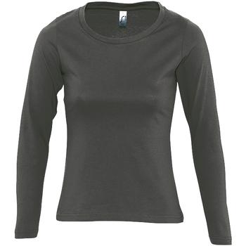 tekstylia Damskie T-shirty z długim rękawem Sols MAJESTIC COLORS GIRL Gris
