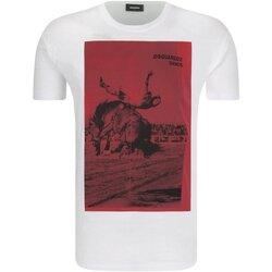 tekstylia Męskie T-shirty z krótkim rękawem Dsquared S71GD0712 Biały