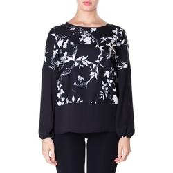 tekstylia Damskie Koszule Luckylu BLUSA CREPE STAMPATO 0714-bianco-nero