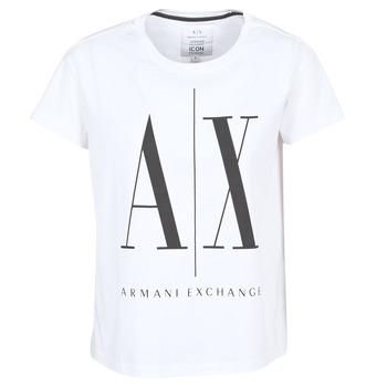 tekstylia Damskie T-shirty z krótkim rękawem Armani Exchange 8NYTCX-YJG3Z-5102 Biały