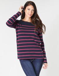 tekstylia Damskie T-shirty z długim rękawem Armor Lux BRIAN Marine / Różowy