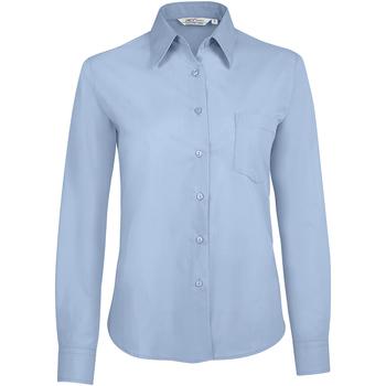 tekstylia Damskie Koszule Sols EXECUTIVE POPELIN WORK Azul