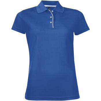 tekstylia Damskie Koszulki polo z krótkim rękawem Sols PERFORMER SPORT WOMEN Azul