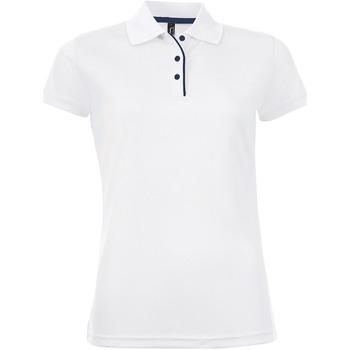 tekstylia Damskie Koszulki polo z krótkim rękawem Sols PERFORMER SPORT WOMEN Blanco