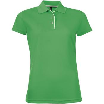 tekstylia Damskie Koszulki polo z krótkim rękawem Sols PERFORMER SPORT WOMEN Verde