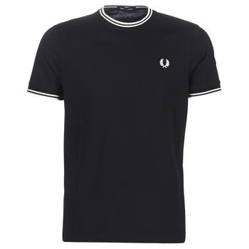 tekstylia Męskie T-shirty z krótkim rękawem Fred Perry TWIN TIPPED T-SHIRT Czarny