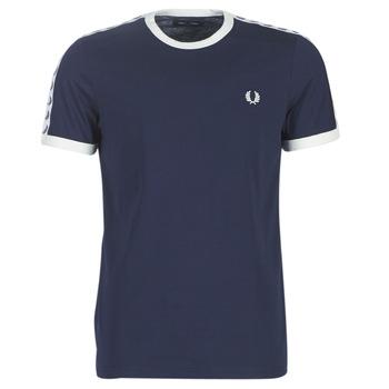 tekstylia Męskie T-shirty z krótkim rękawem Fred Perry TAPED RINGER T-SHIRT Marine