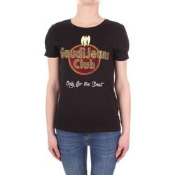 tekstylia Damskie T-shirty z krótkim rękawem Gaudi 911BD64039 Czarny
