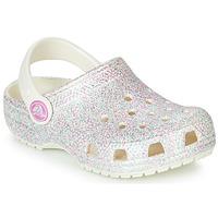 Buty Dziewczynka Chodaki Crocs CLASSIC GLITTER CLOG K Biały