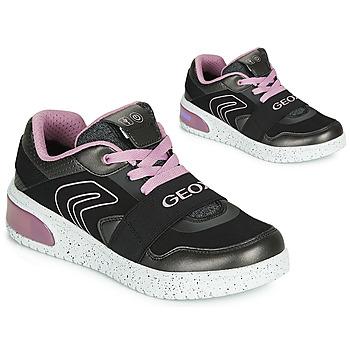 Buty Dziewczynka Trampki wysokie Geox J XLED GIRL Czarny / Różowy