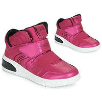 Buty Dziewczynka Trampki wysokie Geox J XLED GIRL Różowy / Fuksja / Czarny
