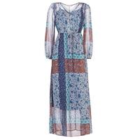 tekstylia Damskie Sukienki długie Cream SAMA Niebieski / Brązowy