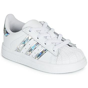 Buty Dziewczynka Trampki niskie adidas Originals SUPERSTAR EL I Biały / Srebrny