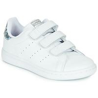 Buty Dziewczynka Trampki niskie adidas Originals STAN SMITH CF C Biały / Argenté