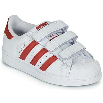 Buty Dziecko Trampki niskie adidas Originals SUPERSTAR CF C Biały / Czerwony