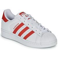 Buty Dziecko Trampki niskie adidas Originals SUPERSTAR J Biały / Czerwony