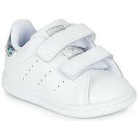 Buty Dziewczynka Trampki niskie adidas Originals STAN SMITH CF I Biały / Argenté