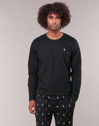 tekstylia Męskie T-shirty z długim rękawem Polo Ralph Lauren L/S CREW-CREW-SLEEP TOP Czarny