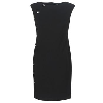tekstylia Damskie Sukienki krótkie Lauren Ralph Lauren BUTTON-TRIM CREPE DRESS Czarny