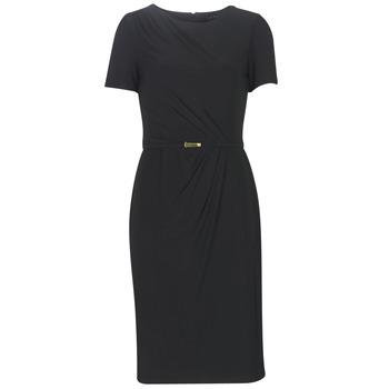 tekstylia Damskie Sukienki długie Lauren Ralph Lauren BELTED SHORT SLEEVE DRESS Czarny