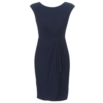 tekstylia Damskie Sukienki krótkie Lauren Ralph Lauren RUCHED CAP SLEEVE DRESS Marine