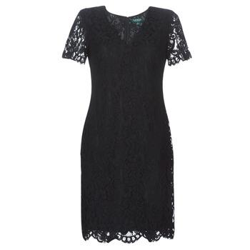tekstylia Damskie Sukienki krótkie Lauren Ralph Lauren SCALLOPED LACE DRESS Czarny