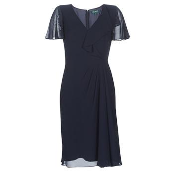 tekstylia Damskie Sukienki długie Lauren Ralph Lauren CUTLER CAP SLEEVE DAY DRESS Marine
