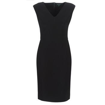 tekstylia Damskie Sukienki długie Lauren Ralph Lauren BLACK CAP SLEEVE DAY DRESS Czarny