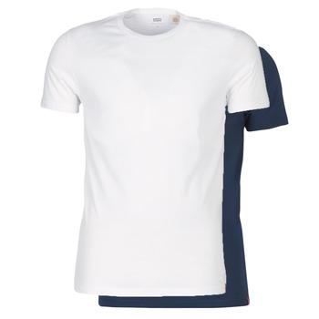 tekstylia Męskie T-shirty z krótkim rękawem Levi's SLIM 2PK CREWNECK 1 Marine / Biały