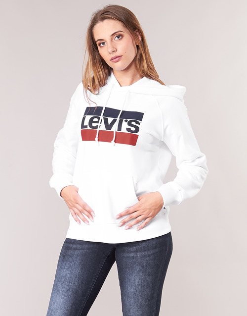 tekstylia Damskie Bluzy Levi's GRAPHIC SPORT HOODIE Biały