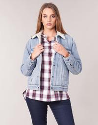 tekstylia Damskie Kurtki jeansowe Levi's EX-BF SHERPA TRUCKER Strangerways
