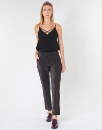 tekstylia Damskie Spodnie z pięcioma kieszeniami Maison Scotch TAPERED LUREX PANTS WITH VELVET SIDE PANEL Szary