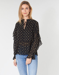 tekstylia Damskie Topy / Bluzki Maison Scotch SHEER PRINTED TOP WITH RUFFLES Czarny