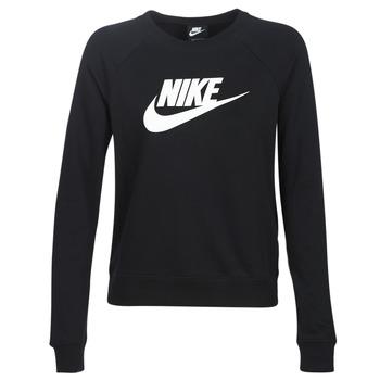 tekstylia Damskie Bluzy Nike W NSW ESSNTL CREW FLC HBR Czarny