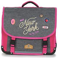 Torby Dziewczynka Teczki Rentrée des classes POL FOX NEW YORK CARTABLE 38 CM Szary / Różowy