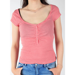 tekstylia Damskie T-shirty z krótkim rękawem Lee Koszulka  L428CGXX czerwony, biały