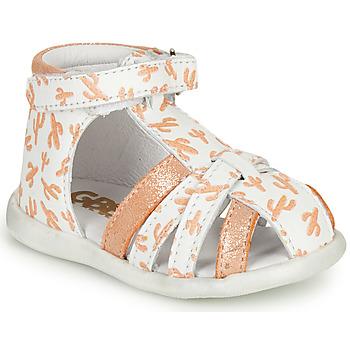 Buty Dziewczynka Sandały GBB AGRIPINE Biały / Pomarańczowy