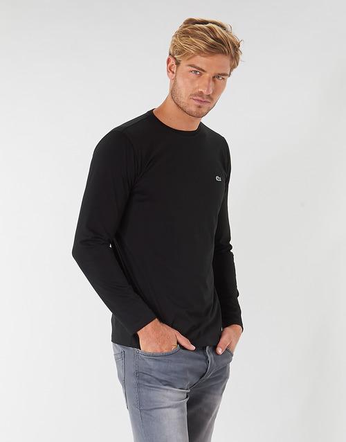 tekstylia Męskie T-shirty z długim rękawem Lacoste TH6712 Czarny
