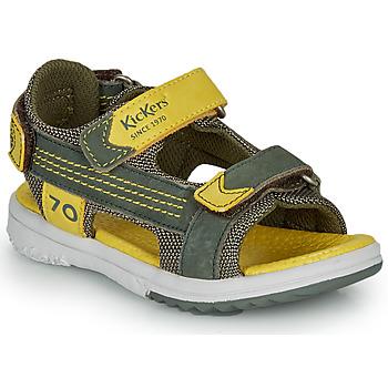 Buty Chłopiec Sandały Kickers PLANE Kaki / Żółty