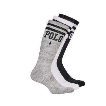 Dodatki Męskie Skarpety Polo Ralph Lauren 3PK DBLE BAR-CREW-3 PACK Biały / Szary / Czarny