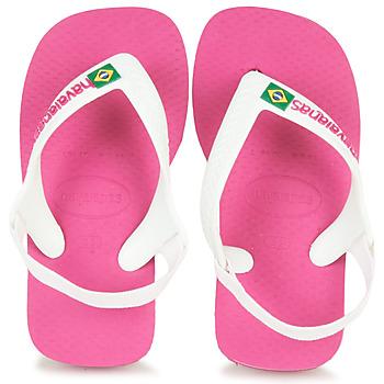 Buty Dziewczynka Japonki Havaianas BABY BRASIL LOGO II Pink / Biały