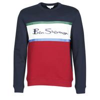 tekstylia Męskie Bluzy Ben Sherman COLOUR BLOCKED LOGO SWEAT Marine / Czerwony