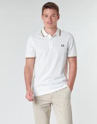 tekstylia Męskie Koszulki polo z krótkim rękawem Fred Perry TWIN TIPPED FRED PERRY SHIRT Biały